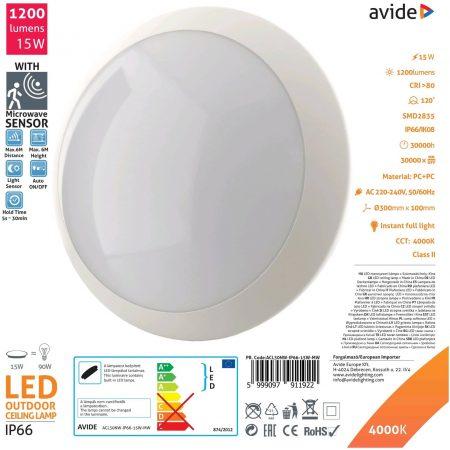 Vodotesna LED plafoniera IP66 15W nevtralno bela 4000K z mikrovalovnim senzorjem
