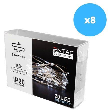 8x 1m 20 LED božične lučke na baterije hladno bele (2AA)