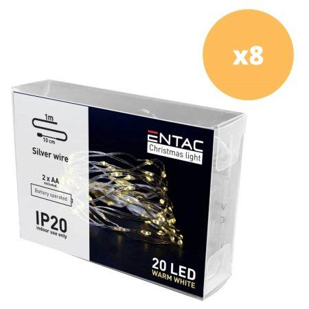 8x 1m 20 LED božične lučke na baterije toplo bele (2AA)