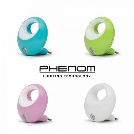 Set 4 barvnih nočnih lučk za v vtičnico s senzorjem svetlobe 1W modra, zelena, roza in bela