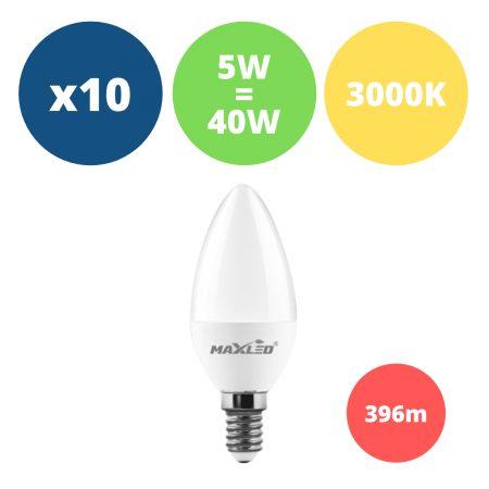 10x LED žarnica - sijalka E14 5W (40W) 460 lm toplo bela 3000K