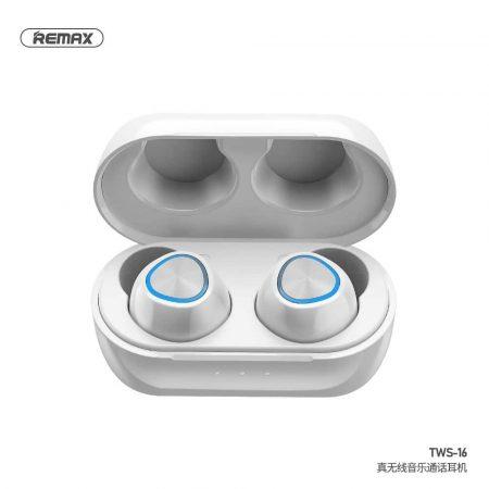 Brezžične bluetooth slušalke TWS REMAX z mikrofonom in polnilno postajo bele