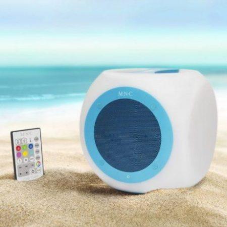 Vodotesen RGB bluetooth zvočnik M.N.C. Chill Cube 5W 20x20cm z daljincem iTunes® Google Play ™