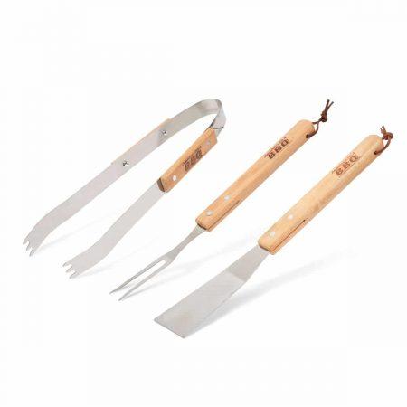 Komplet orodja za žar - 3 delni - z lesenim ročajem