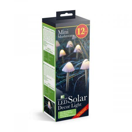 LED solarna svetilka - 12 mini gob - toplo bela - 24 cm x 4 m