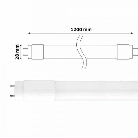 LED žarnica - sijalka cevna T8 G13 120 cm 18W 120lm/W high lumen nevtralno bela 4000K steklo