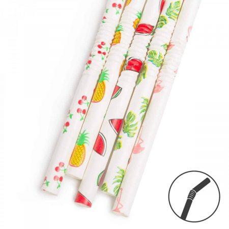 Papirnata slamica - poletni vzorec - 250 x 6 mm - 150 kosov / paket