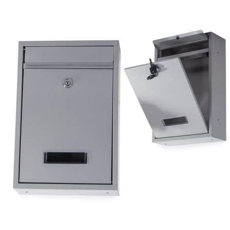 Poštni nabiralnik iz nerjavečega jekla siv 21,5 x 32 x 8,5 cm