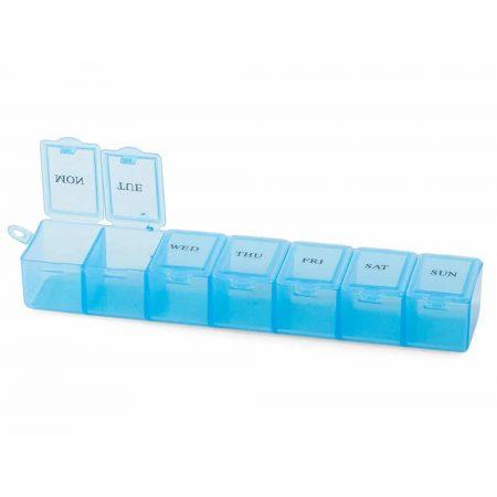 Tedenska škatlica za zdravila z ločenemi predelki več barv