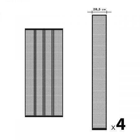 Magnetna mreža za vrata proti komarjem - 4 delna - max. 100 x 220 cm - črna