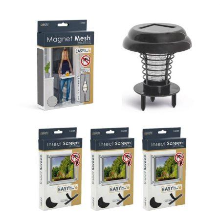 UV paket proti insketom – magnetna mreža za vrata črna 210x100cm + 3x komarnik za okno 150×150cm črn + UV LED past za insekte