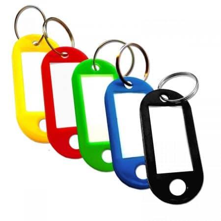 Obesek za ključe s kartončkom enostranski 22 x 53mm več barv 50 kosov/paket