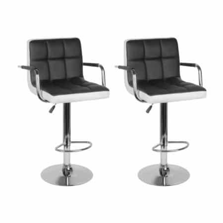 Barski stol z naslonjalom - črn - 43 x 36 cm - 2 kosa