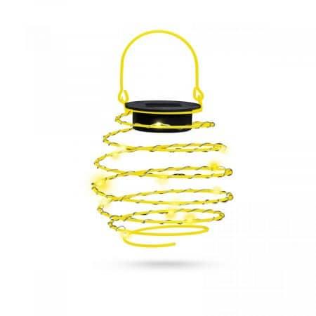 LED solarna spiralna svetilka kovinska toplo bela 12 cm rumena