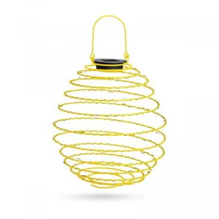LED solarna spiralna svetilka kovinska toplo bela 22 cm rumena