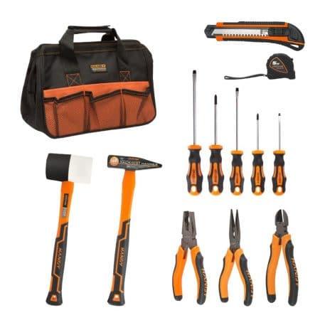 Komplet orodja v torbi - 2x kladivo + 3x klešče + 5x izvijač + nož + tračni meter 5m