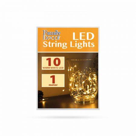 Micro LED lučke na baterije 10 LED toplo bele