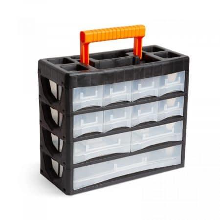 Prenosni organizator za shranjevanje drobnega materiala s predalčki- 315 x 270 x 145 mm