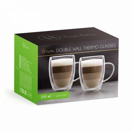 Set 2 skodelic za belo kavo z dvojno steno - 350 ml - 2 kos / škatla