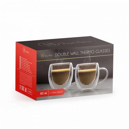 Set 2 skodelic za esspresso z dvojno steno - 80 ml - 2 kos / škatla