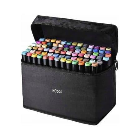 Set dvostranskih flomastrov za ustvarjanje v torbici Kikoo 80 delni