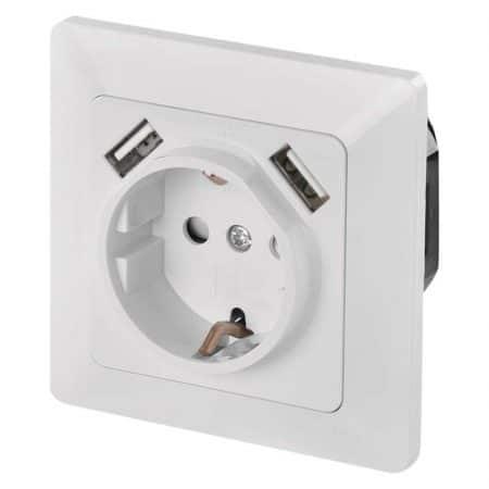 Vtičnica vgradna šuko + 2x USB 2.1A