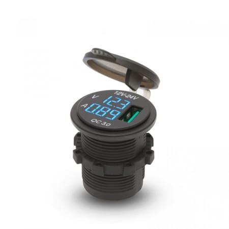 Vgradna USB vtičnica z LED zaslonom in merilnikom napetosti 1 x USB 5V 2.1A 12/24V