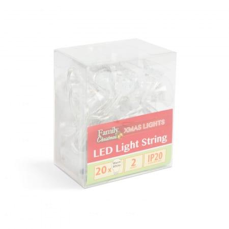 Božično-novoletne lučke na baterije zvončki 20 LED 2.3m toplo bela barva 3 x AA