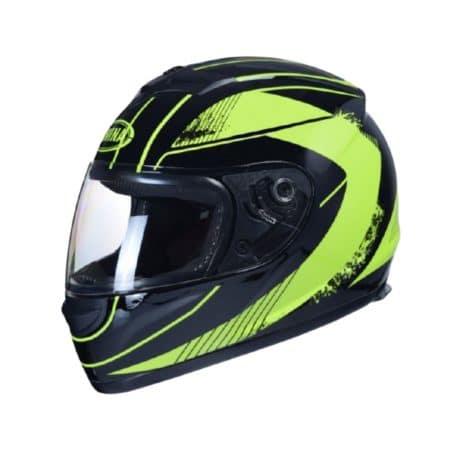 Čelada integralna za moped, skuter, motor črna/rumena velikost M