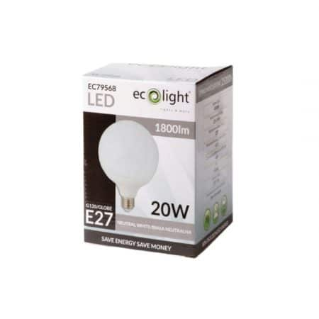 LED sijalka globe E27 20W 4000K