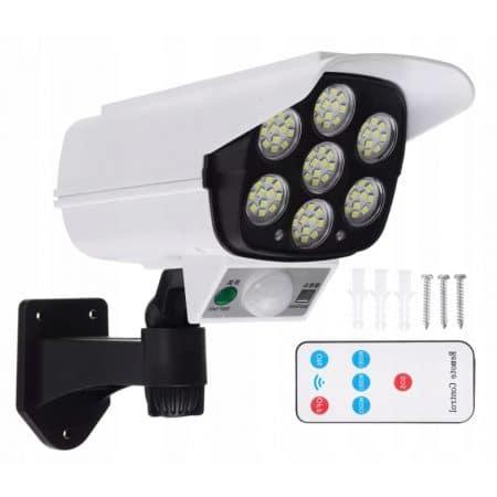 LED solarna svetilka v obliki kamere 77 LED 400lm 8W 6500K z daljincem