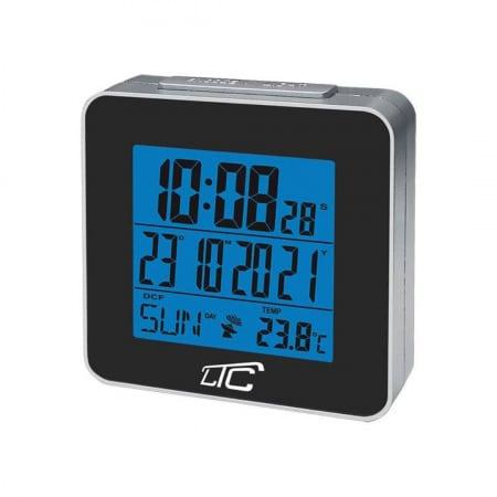 LCD budilka s termometrom z radijsko vodeno uro črna