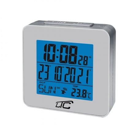 LCD budilka s termometrom z radijsko vodeno uro srebrna