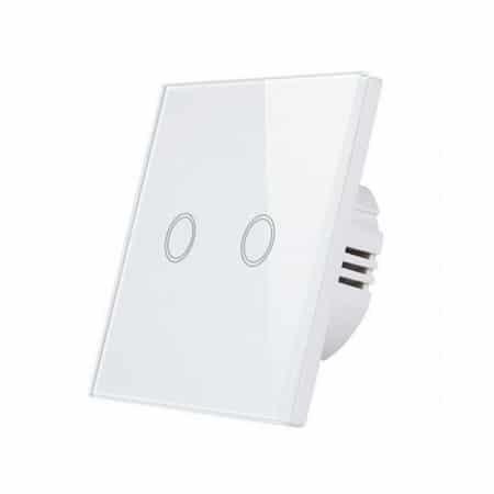Stekleno stikalo na dotik dvojno belo LED