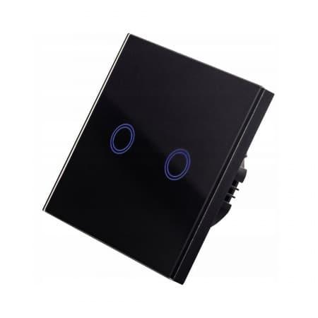 Stekleno stikalo na dotik dvojno črno LED