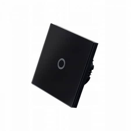 Stekleno stikalo na dotik enojno črno LED